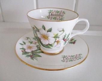Sadler December teacup and saucer set, Wellington by Sadler, birthday gift, holiday gift, holiday tea, excellent condition