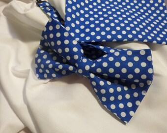 Royal Blue & white Polka Dots