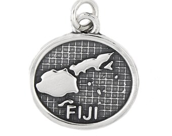 Sterling Silver Map of Fiji Islands Map Travel Charm