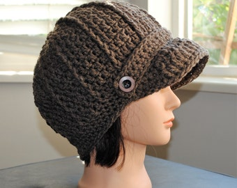 brown crochet adult newsboy hat