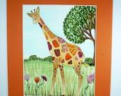 Kids wall art, Giraffe art, Pen and Ink, Fantasy art, original drawing, giraffe drawing with trees and flowers, children's wall art.