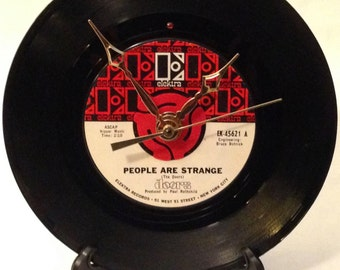 """Recycled DOORS 7"""" Record  / Song: People Are Strange / Record Clock"""