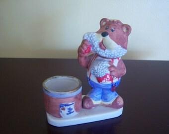 """Vintage Ceramic Shaving Bear Brush Holder """" Jasco """" 1979, Bathroom Accessory, Holder For Shaving Brush, Home Decor, Vintage Gift Item"""