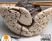 Sheep Yarn Bowl, handmade ceramic clay