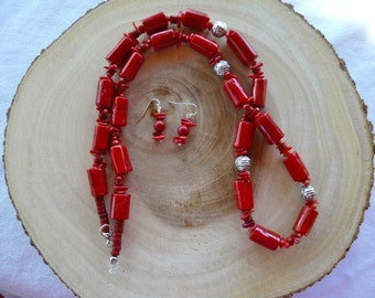 32 Inch Chunky Rustic Red Coral Necklace with Earrings