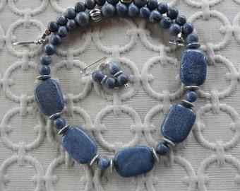 19 Inch Rustic Chunky Blue Gray Sponge Coral Necklace with Earrings