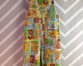 vintage patchwork corduroy overalls animal novelty print by healthtex size 12 months