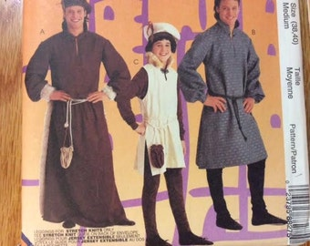 Pattern For Medieval Costumes Men's & Boys' McCall's 8827 Tunics, Leggings, Beret, Pouch Halloween