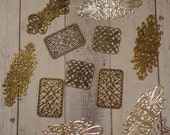 Mixed Lot of Antique Brass and Silver Plated Filigree Findings (11 pcs)