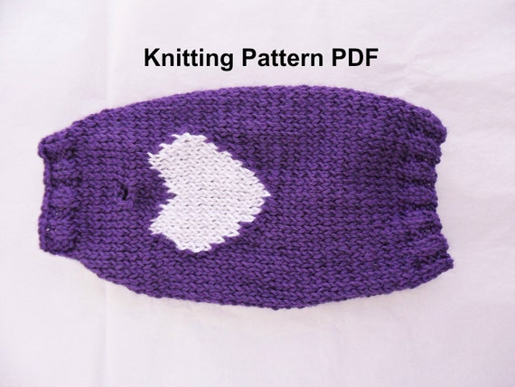Diy Knitting Patterns : Heart dog sweater knitting pattern PDF small dog sweater