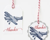 Vintage Airplane Thank You Tags