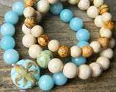 French Blues - Romantic Fleur de Lis Bracelet Stack - Artisan Lampwork beads - Blue & Ivory - Stretch bracelet set