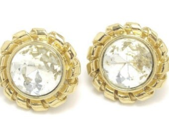 Givenchy Earrings, Clip Ons, Glass, 1960s Vintage Jewelry, VALENTINE SALE