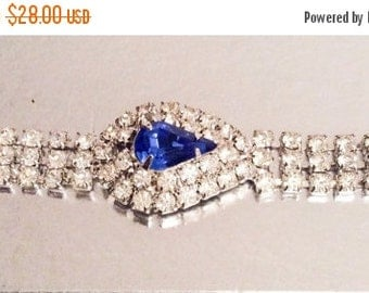 Blue Rhinestone Bracelet Art Deco Revival Bridal Vintage Jewelry WINTER SALE