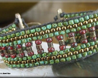 KIT - Noah's Path Cuff Bracelet Beadweaving Kit - Red with Green Turquoise Colorway