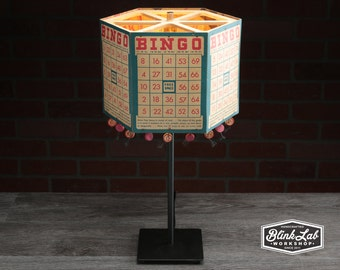 Bingo Card Table Lamp, Upcycled, Repurposed, Board Game, Light, Shade, Vintage, Retro, Decorative Lighting, Token Tassels, Red, white, Blue