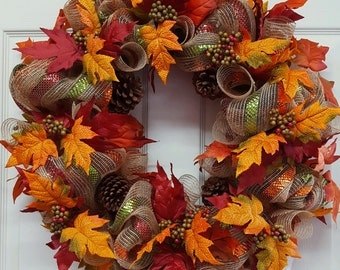 Fall,Fall Mesh Wreath,Fall Wreath,Fall Grapevine Wreath,Thanksgiving Door/Wall Decor,Fall Wall/Door Decor