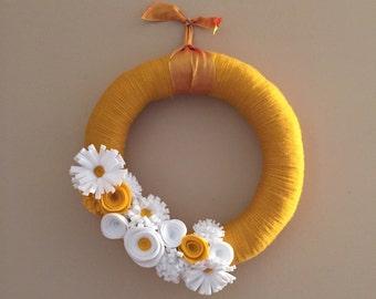 Yellow and white spring felt flower yarn wreath
