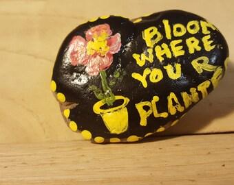 Painted rock, Bloom rock,  paper weight, small rock, happy rock, encouragement rock #38