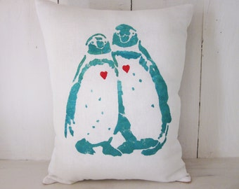 Penguin pillows, decorative pillows,farmhouse decor, wedding gift,penguins, valentine's day gift, turquoise pillows
