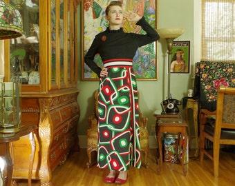Vintage 70er Jahre Op Art Mod Maxi Kleid. Geek-Gal-Glamour. Digital Design in Orange-rot grün weiß Rock. Schicke Retro schwarz stricken Mieder. R & K Strick