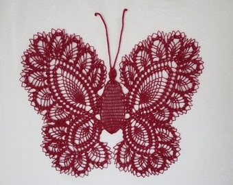 Burgandy/White/Blue Butterfly Doily