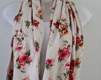 ON SALE Vintage Floral Pink Flowers on Cream Background Knit Infinity Scarf, Triangle Design, Loop Scarf, Long Wrap Around Scarf