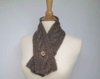 Alpaca Neck Warmer Scarf, Button Scarf, Knit, Baby Alpaca & Bamboo, Small Scarflette, Hypoallergenic