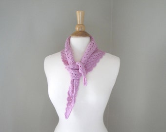 Bandana Neck Scarf, Pale Pink, Neckerchief, Hand Knit, Merino Wool, Neck Warmer Small Scarf