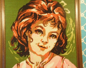 Girl Needlepoint Handmade Vintage 1970s
