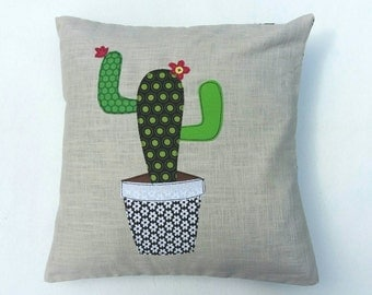 "Cactus cushion cover, decorative, throw cushion. Appliquéd cotton on linen, 16"". Free motion embroidery."