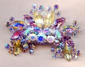Spectacular Vintage Rhinestone Brooch Juliana Style Aurora Borealis AB Crystals