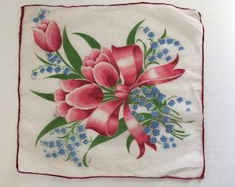 SALE !! Vintage Handkerchief, Vintage Hankie, tulip handkerchief, printed handkerchief