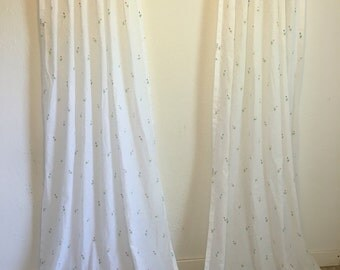 Vintage Curtains, White Curtains, Sheer White Curtains, Long Sheer Drapes