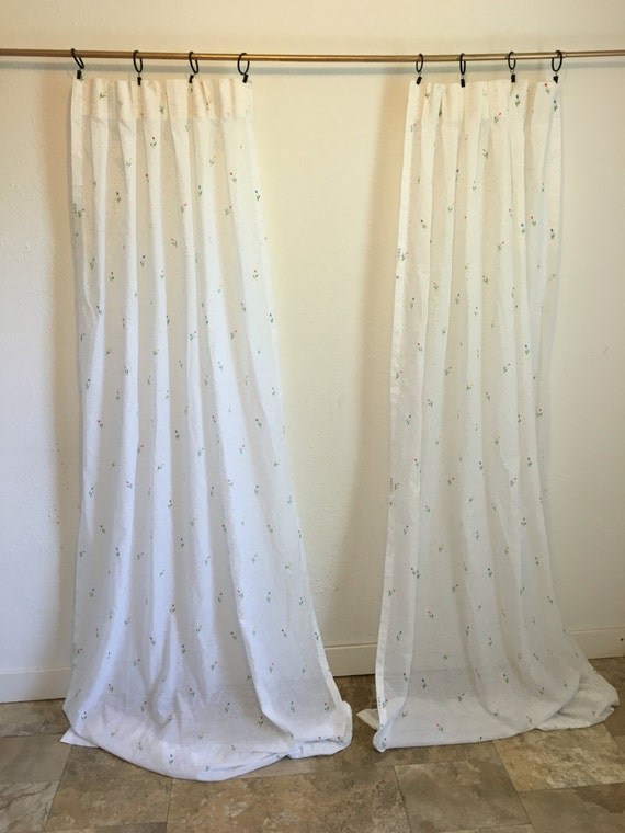 Vintage Curtains White Curtains Sheer White Curtains Long