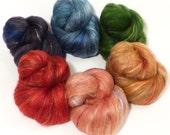 Natural Dyed Fiber Batts - Strawberry Thief - (4.3 oz.) wool, silk, FLAX