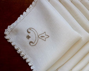 Vintage Linen Napkins 6 Hand Embroidery Cutwork Luncheon Dinner Italian Off White Ecru Natural