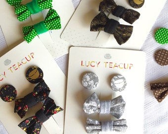 Hair-Bow & Pin Button Badge Accessory Packaged Set- (co-ordinates with Lucy Teacup Peter Pan Collar tops)