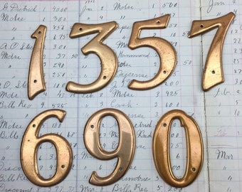 "Copper Industrial metal numbers 2.5"" - small vintage metal numbers – salvaged address number – vintage house numbers – sign numbers"