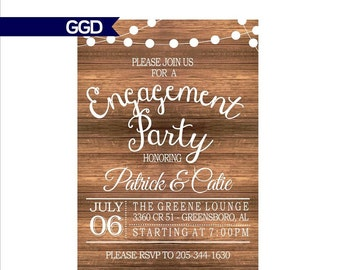 Rustic engagement party invitation | Etsy