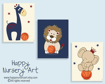 Boys nursery art, baby boy nursery gift, navy blue red nursery, sports nursery posters, basketball nursery art, basketball nursery decor