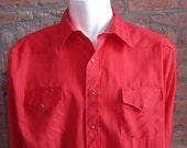 Mens XXL cowboy shirt, White Horse, vintage, red stripes, red snaps (656)