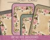 Pink Roses Backgrounds - 1202 - Digital Paper - Instant Download Printables