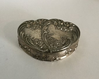 Vintage Trinket Box Ring Box Siver Tone Metal,Jewelry Box, Pink Velvet,Japan