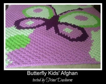 C2C Graph, Butterfly Kids Afghan C2C Graph & Word Chart