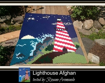 Lighthouse Afghan, C2C Graph, with Written Word Chart