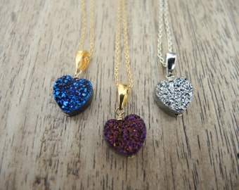 Druzy Necklace, Druzy Heart Pendant Necklace, 14K Gold Filled Necklace, Sterling Silver Necklace, Druzy Jewelry Gift For Her, Valentine Gift