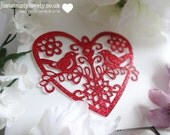 Die Cut Glitter Card Intricate Heart With Love Birds! Craft Embellishments! Pack of 4!