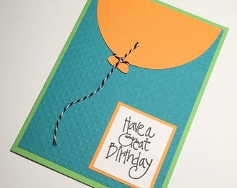 HALF OFF Orange and Turquoise Birthday Card **READY To Ship**