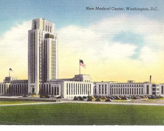 Vintage Linen Postcard...New Medical Center, Washington, D.C....Unused...number 3478